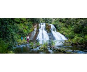 TOUR GROUP AT FALLS – WAIKAREMOANA